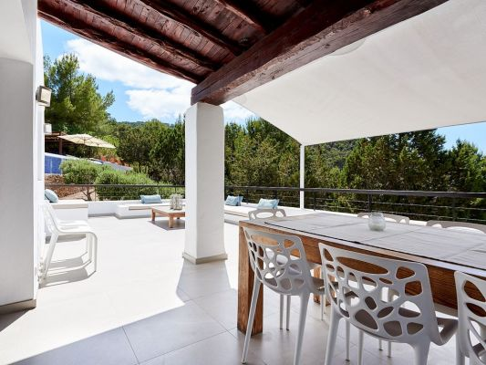 Outside shade photo - Casa Kiva: 6 bedroom child friendly luxury villa with infinity pool in Es Cubells, Ibiza