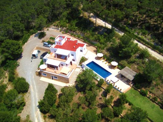 Aerial view photo - Casa Kiva: 6 bedroom child friendly luxury villa with infinity pool in Es Cubells, Ibiza