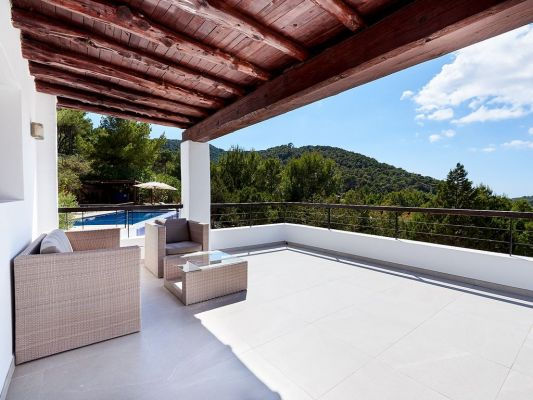 Terrace shade photo - Casa Kiva: 6 bedroom child friendly luxury villa with infinity pool in Es Cubells, Ibiza